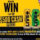 Win a $500 Cash Prizes with Live+